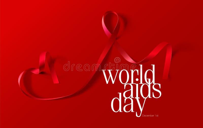 Concetto di Giornata mondiale contro l'AIDS Aiuta la consapevolezza Nastro rosso realistico Progettazione del manifesto di callig illustrazione vettoriale
