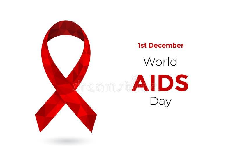 Concetto di Giornata mondiale contro l'AIDS con il nastro rosso di consapevolezza illustrazione di stock