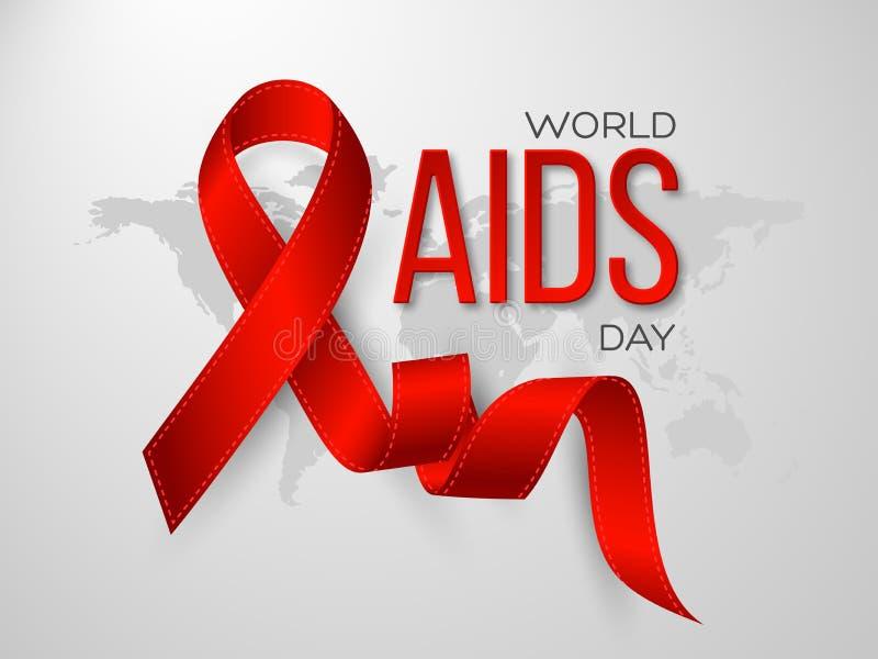 Concetto di Giornata mondiale contro l'AIDS Nastro rosso di consapevolezza realistica sul fondo grigio della mappa, illustrazione illustrazione di stock