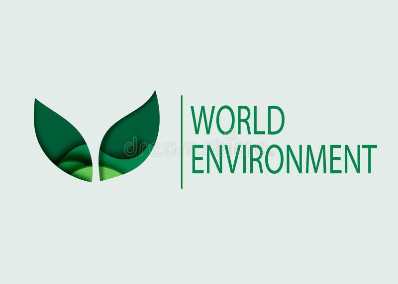 Concetto di Giornata mondiale dell'ambiente progettazione amichevole di eco del taglio della carta 3d Illustrazione di vettore Fo royalty illustrazione gratis