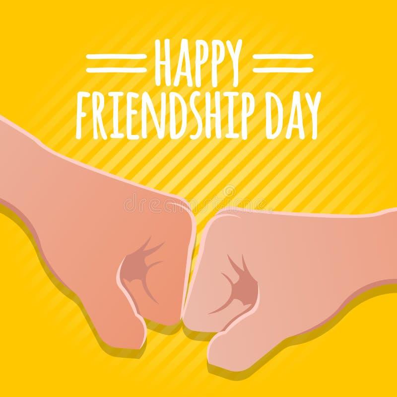Concetto di giorno di amicizia illustrazione di riserva di vettore delle mani del pugno progettazione della cartolina d'auguri pe illustrazione vettoriale