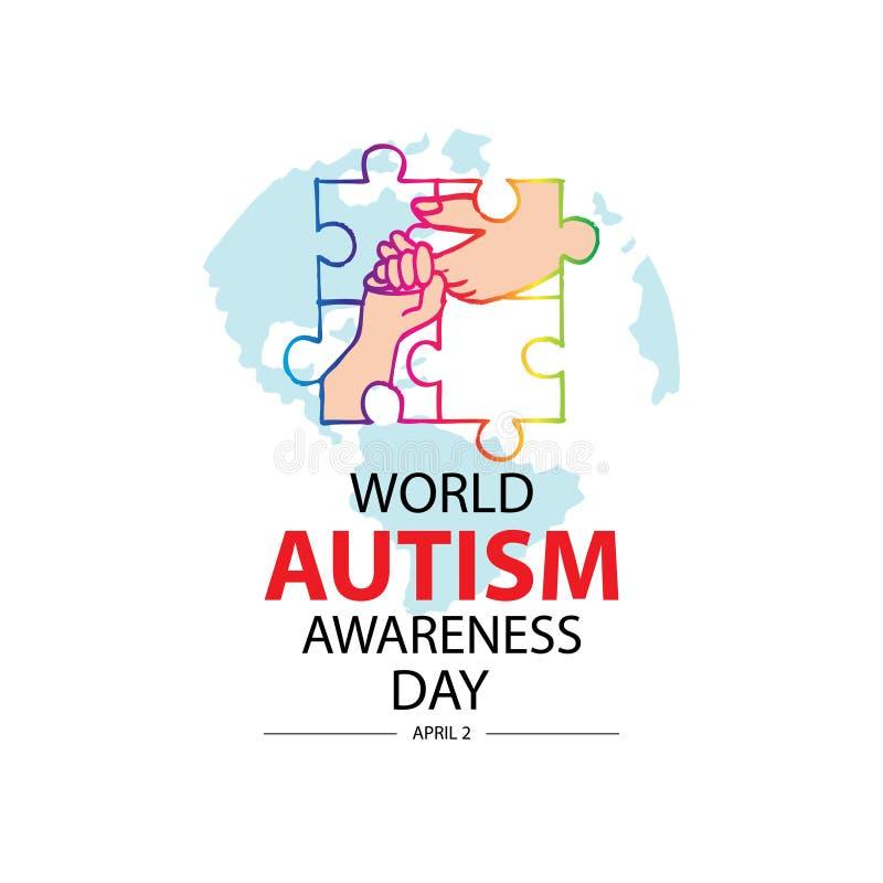 Concetto di giorno di consapevolezza di autismo del mondo 2 aprile illustrazione vettoriale