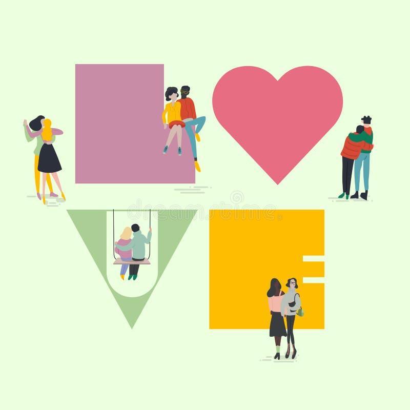 Concetto di giorno dei biglietti di S Gente minuscola intorno al grande segno di amore Coppie, eterosessuale differenti, gay e le illustrazione vettoriale