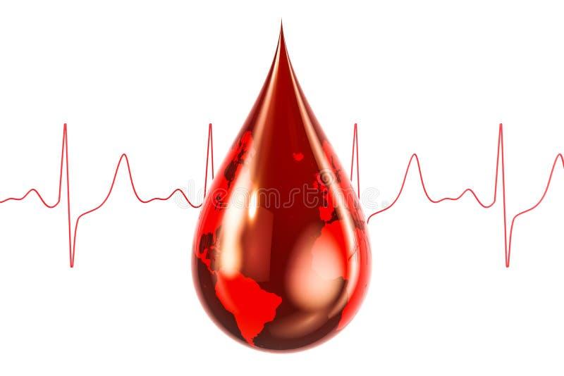 Concetto di giorno del donatore di sangue del mondo Goccia del sangue con struttura del mondo, illustrazione di stock