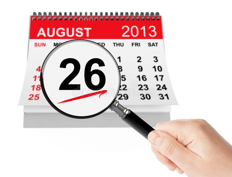 Concetto di giorno dell'uguaglianza delle donne. Calendario del 26 agosto 2013 con il magni immagini stock libere da diritti