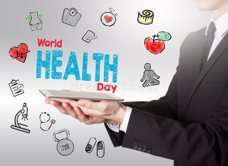 Concetto di giorno di salute di mondo Fondo di stile di vita di Healty Holdi dell'uomo immagine stock