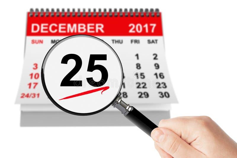 Concetto di giorno di Natale 25 dicembre 2017 calendario con la lente fotografia stock