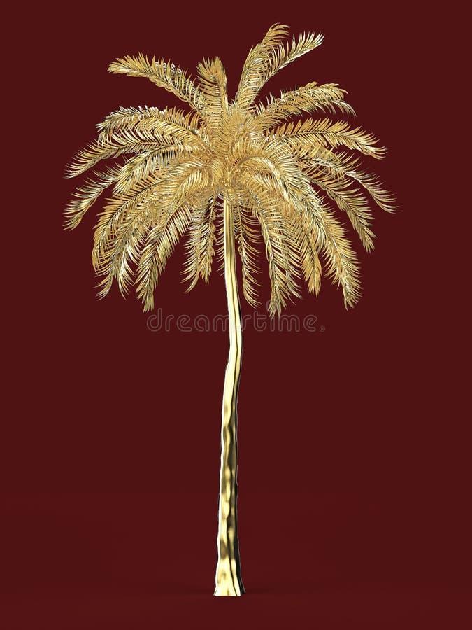 Concetto di giro di vacanza della pianta tropicale dell'oro della palma grande di sogno della spiaggia di simbolo dell'elemento d royalty illustrazione gratis