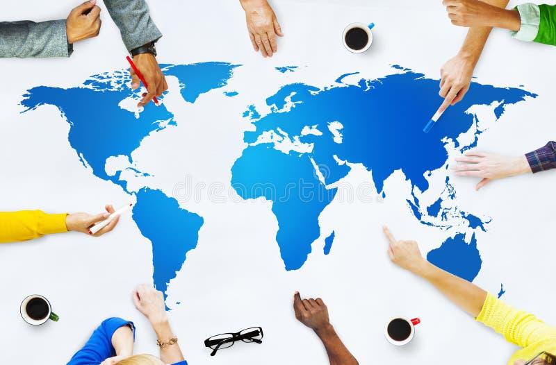 Concetto di globalizzazione del collegamento della mappa di mondo di cartografia fotografia stock