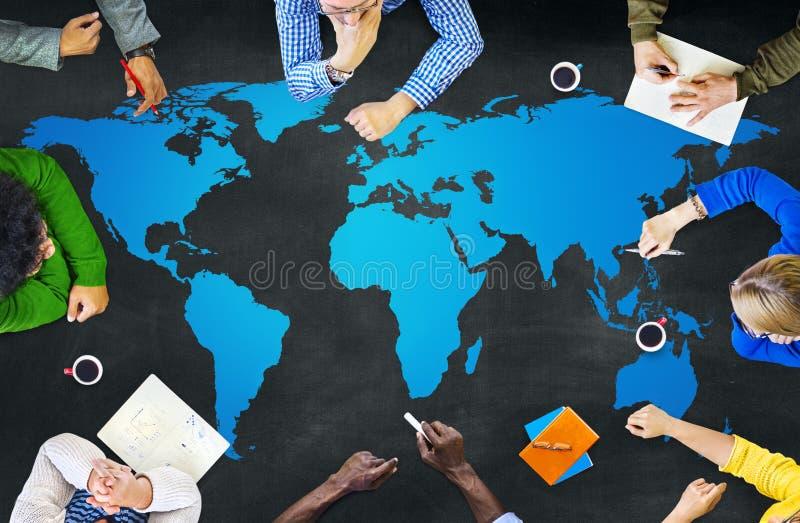 Concetto di globalizzazione del collegamento della mappa di mondo di cartografia immagine stock libera da diritti