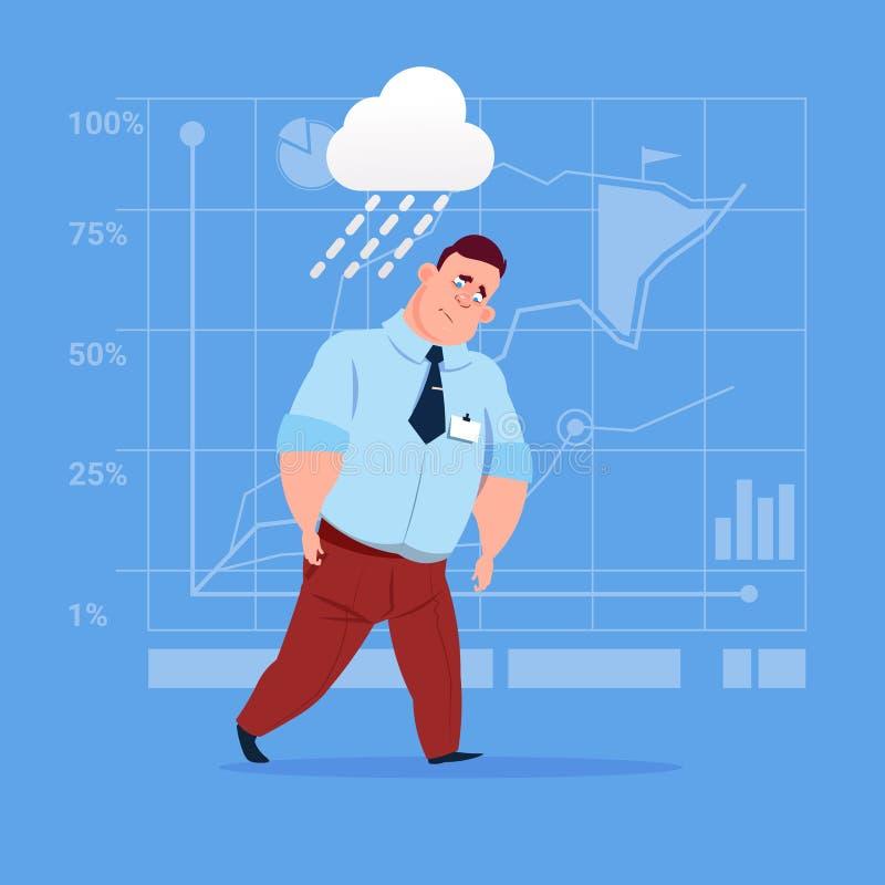 Concetto di guasto di problema della pioggia di sotto bagnata dell'uomo di affari grande illustrazione di stock