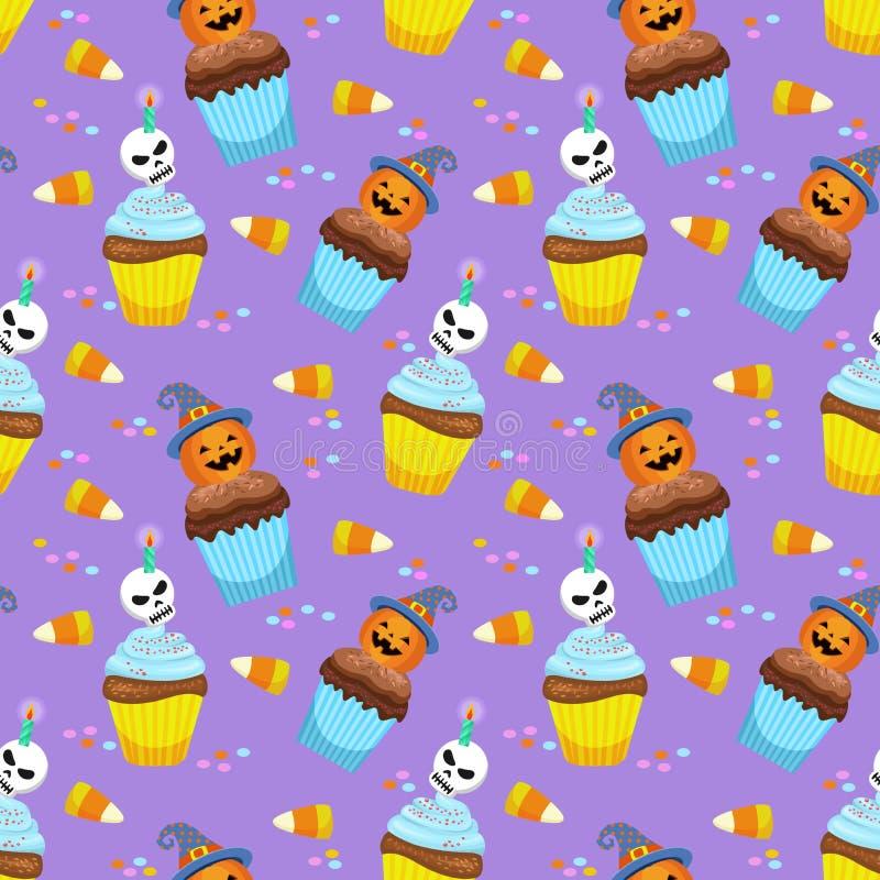 Concetto di Halloween con il modello del dolce e della caramella della tazza royalty illustrazione gratis
