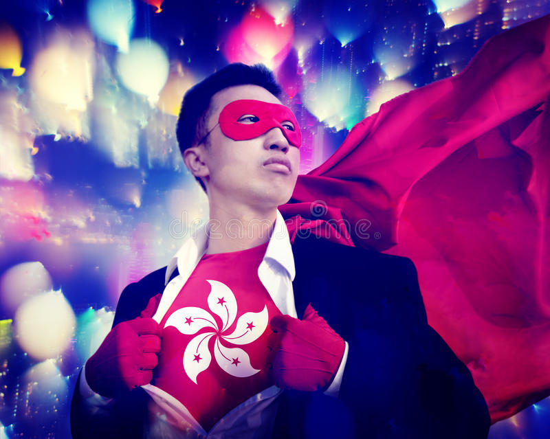 Concetto di Hong Kong Flag Patriotism Businessman del supereroe fotografia stock