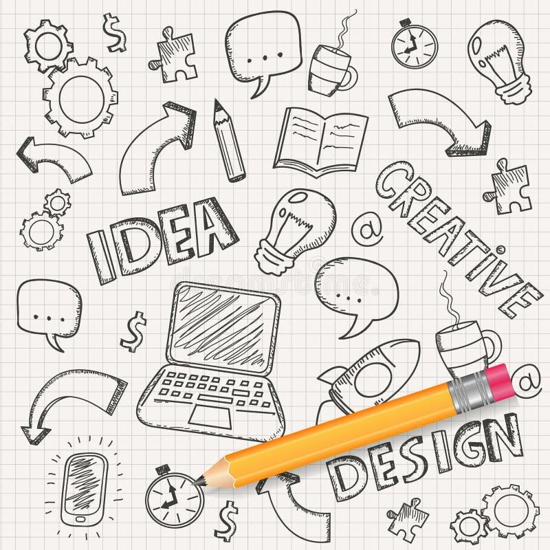Concetto di idea con la matita e gli schizzi di scarabocchio Icone di Infographic Doodles di affari fissati Vettore illustrazione di stock
