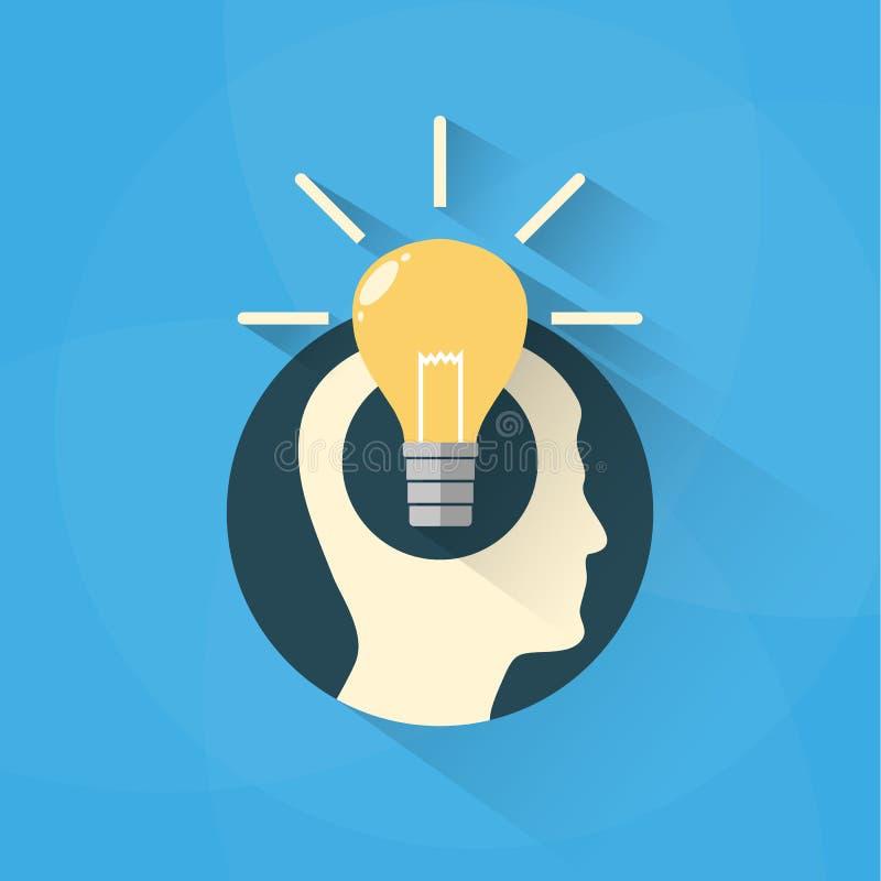 Concetto di idea con la testa e la lampadina illustrazione vettoriale