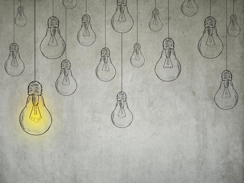 Concetto di idea con le lampadine immagine stock