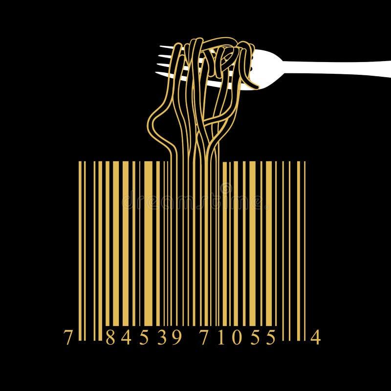 Concetto di idea di progettazione del codice a barre degli spaghetti della forcella su fondo nero illustrazione vettoriale