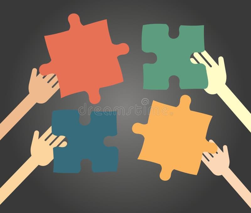 Concetto di idea - la gente raccoglie il puzzle royalty illustrazione gratis
