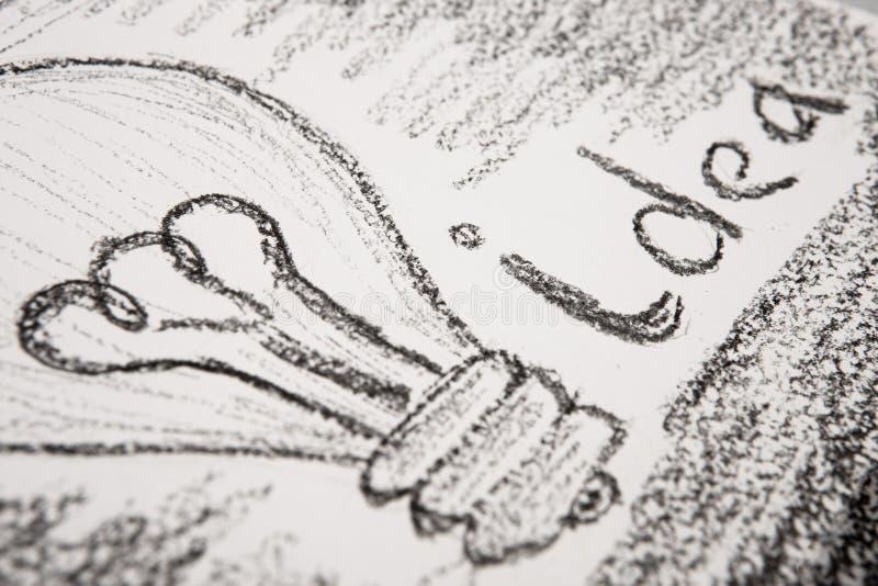 Concetto di idea - lampadina disegnata con la matita fotografia stock