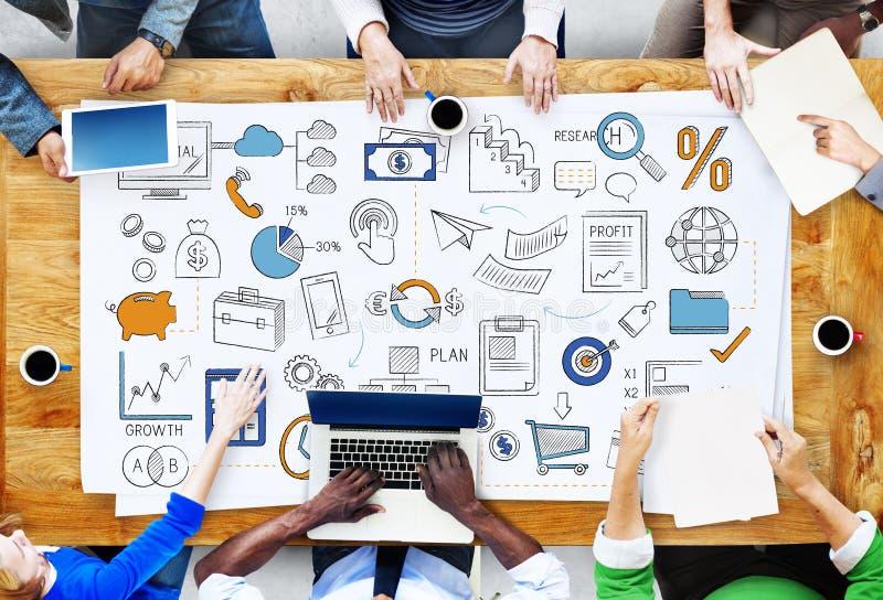 Concetto di idee di tattiche dell'obiettivo del bilancio del business plan immagini stock