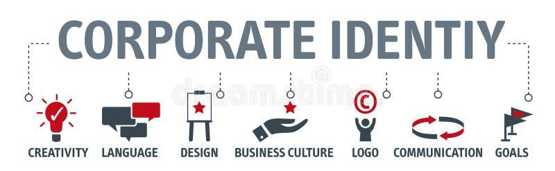 Concetto di identità corporativa dell'insegna con le icone illustrazione vettoriale