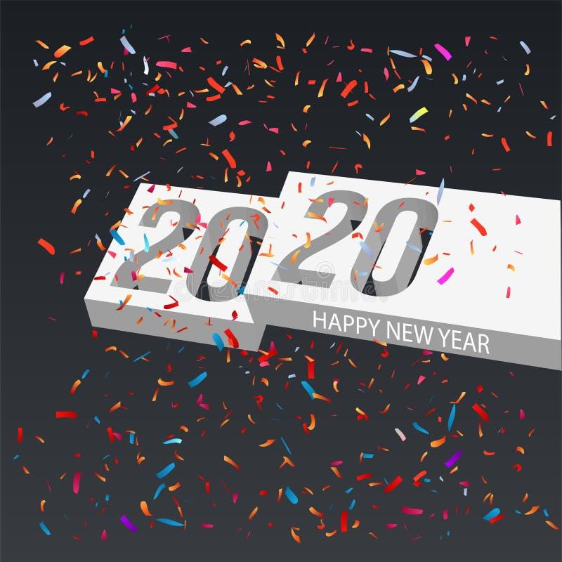 Concetto di illustrazione 3d del nuovo anno 2020 royalty illustrazione gratis
