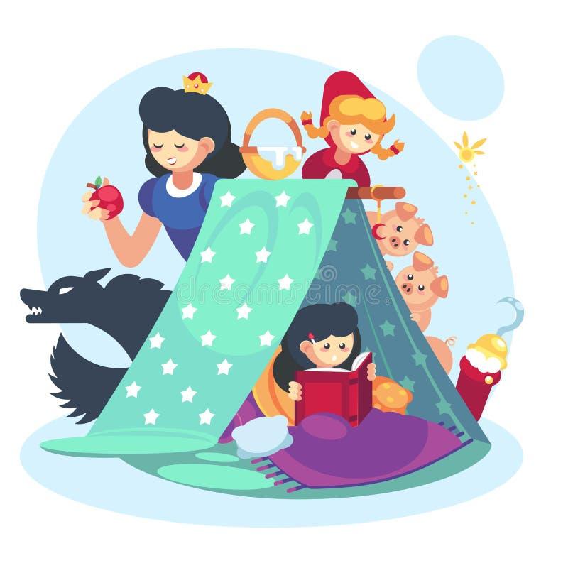 Concetto di immaginazione, bambina del bambino con il libro aperto Infanzia felice forte della coperta del carattere di fiabe illustrazione di stock