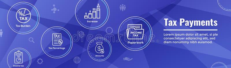 Concetto di imposta - la percentuale l'idea ha pagato, dell'icona e di reddito Insegna di intestazione piana di web dell'illustra royalty illustrazione gratis
