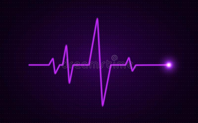 Concetto di impulso del cuore Linea medica d'ardore Fondo di sanità Diagramma di impulso con la pendenza luminosa Arte di battito illustrazione vettoriale
