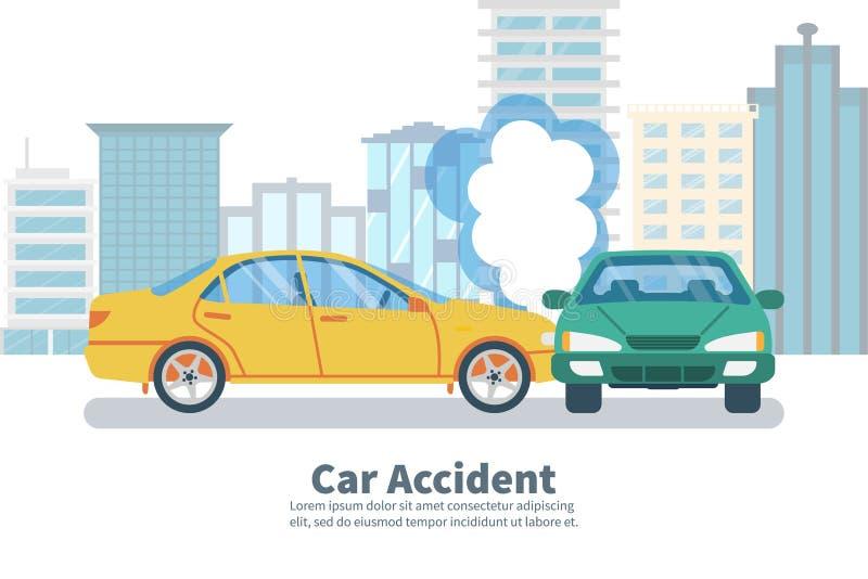 Concetto di incidente stradale su fondo di grande città illustrazione vettoriale