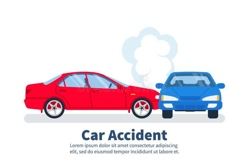 Concetto di incidente stradale Incidente di trasporto, stile del fumetto illustrazione vettoriale