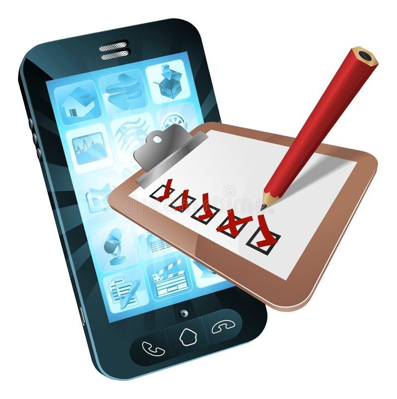Concetto di indagine del telefono cellulare illustrazione di stock