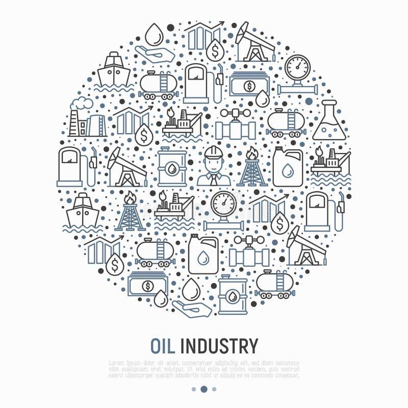 Concetto di industria petrolifera nel cerchio illustrazione di stock