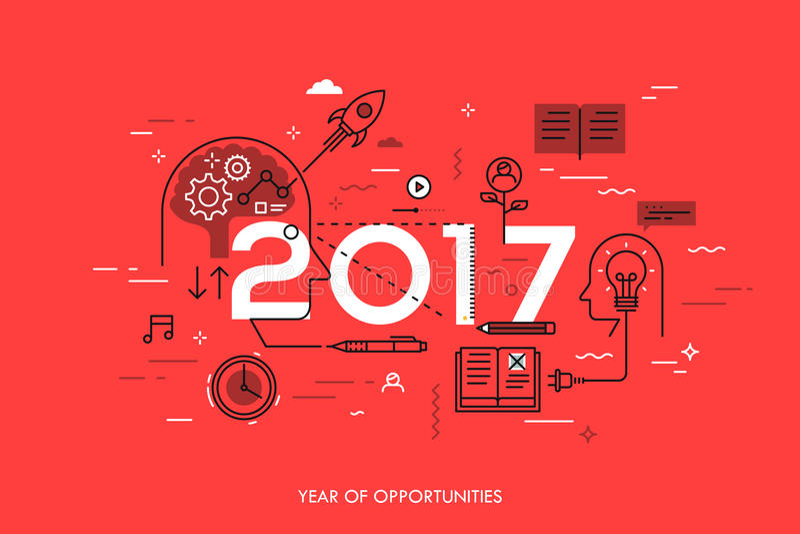 Concetto di Infographic, 2017 - anno di opportunità Nuove tendenze relative alla generazione di idea, gestione di tempo, scambio  illustrazione di stock
