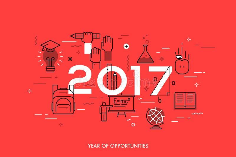 Concetto di Infographic, 2017 - anno di opportunità Nuove tendenze relative, prospettive e previsioni alla scienza, studi scienti illustrazione di stock