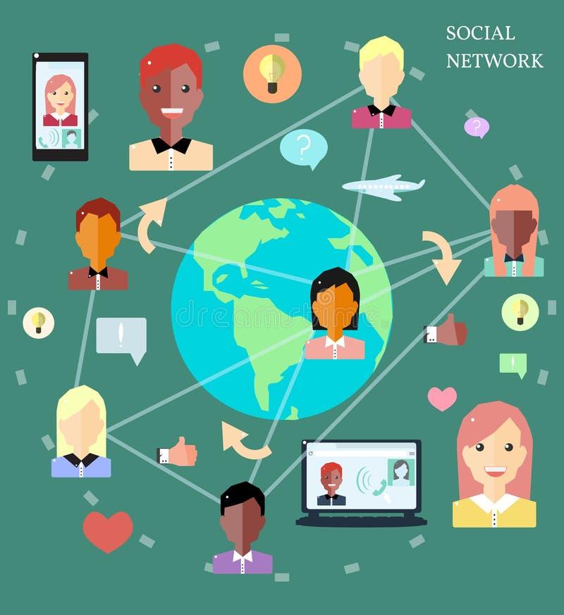 Concetto di Infographic delle reti sociali con il gruppo di persone le icone immagini stock