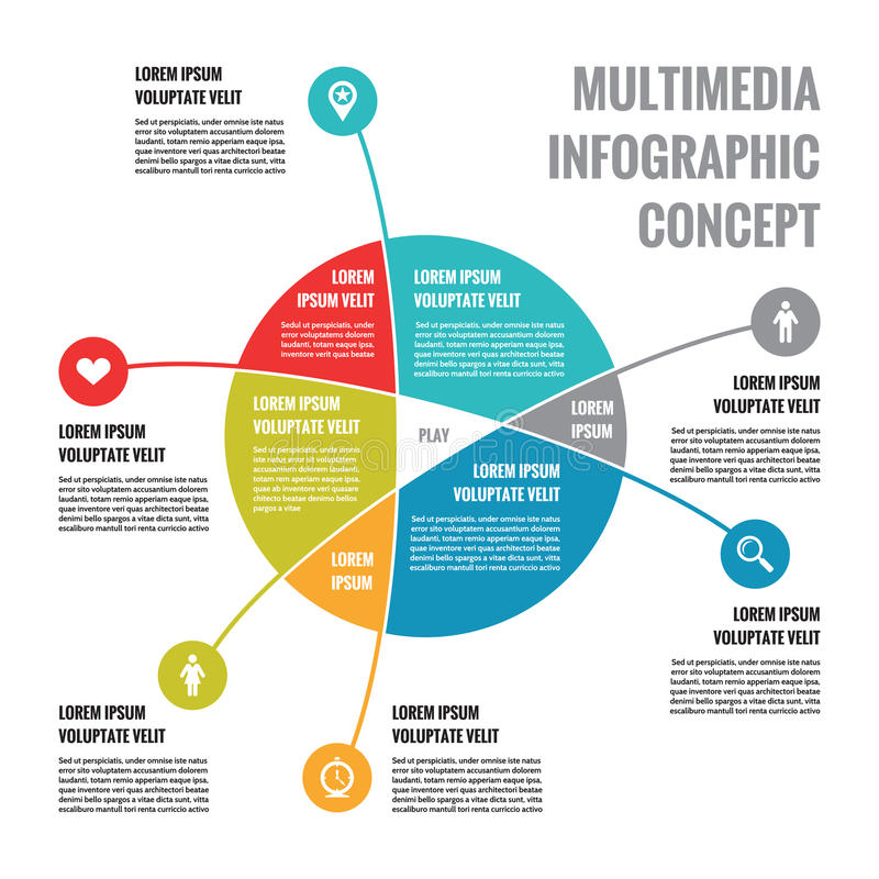Concetto di Infographic di multimedia - schema astratto di affari di vettore con le icone ed i blocchi di testo illustrazione vettoriale