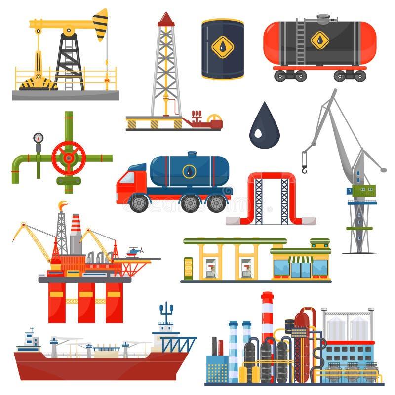 Concetto di infographics dell'industria del gas dell'olio Icone del trasporto e di distribuzione del combustibile diesel della be illustrazione di stock