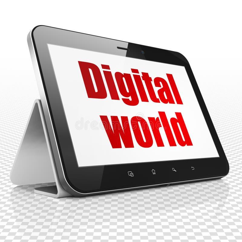 Concetto di informazioni: Computer della compressa con il mondo di Digital su esposizione illustrazione di stock
