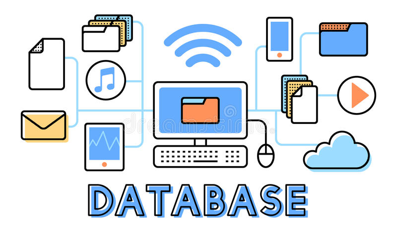 Concetto di informazioni di sistema di analisi della base di dati di dati illustrazione di stock