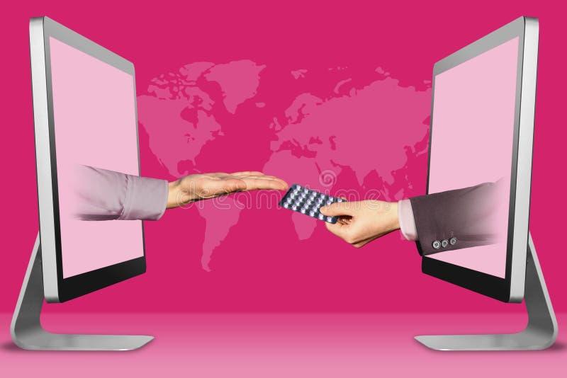 Concetto di informazioni, due mani dai computer portatili supplica gesto e della mano con le pillole della medicina illustrazione immagini stock libere da diritti