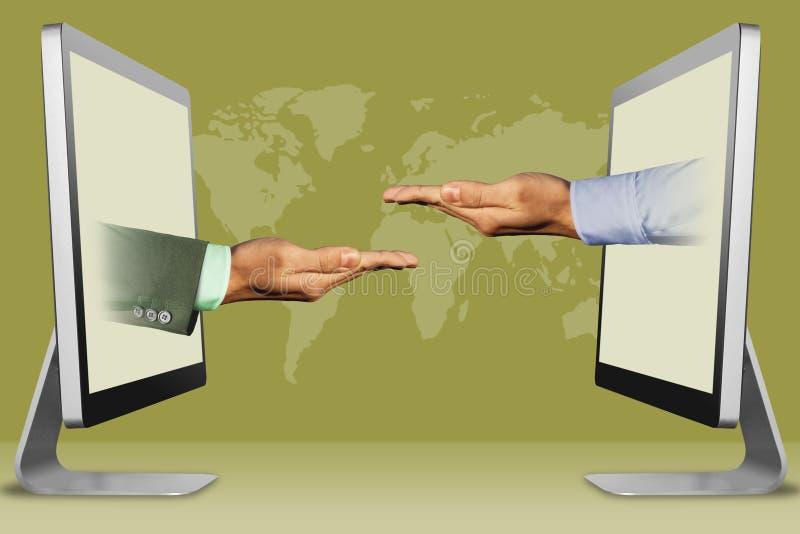 Concetto di informazioni, due mani dai computer supplicando gesto e supplica del gesto illustrazione 3D immagine stock
