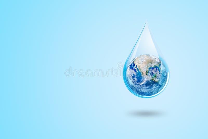 Concetto di inquinamento e di ecologia: Globo blu del pianeta Terra nella goccia di acqua con fondo blu illustrazione vettoriale