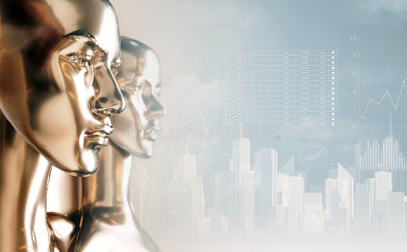 Concetto di intelligenza artificiale - diagrammi e grafici immagine stock libera da diritti