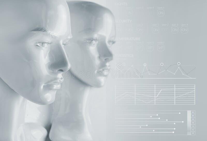 Concetto di intelligenza artificiale - diagrammi e grafici immagine stock