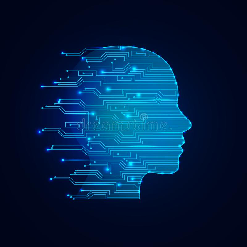 Concetto di intelligenza artificiale Fondo virtuale di web di tecnologia Apprendimento automatico e concetto cyber di dominazione royalty illustrazione gratis