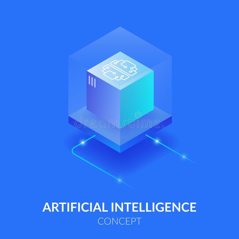 Concetto di intelligenza artificiale Mente della macchina sotto forma di cubo Elaborazione dei un gran numero dati La realtà virt royalty illustrazione gratis