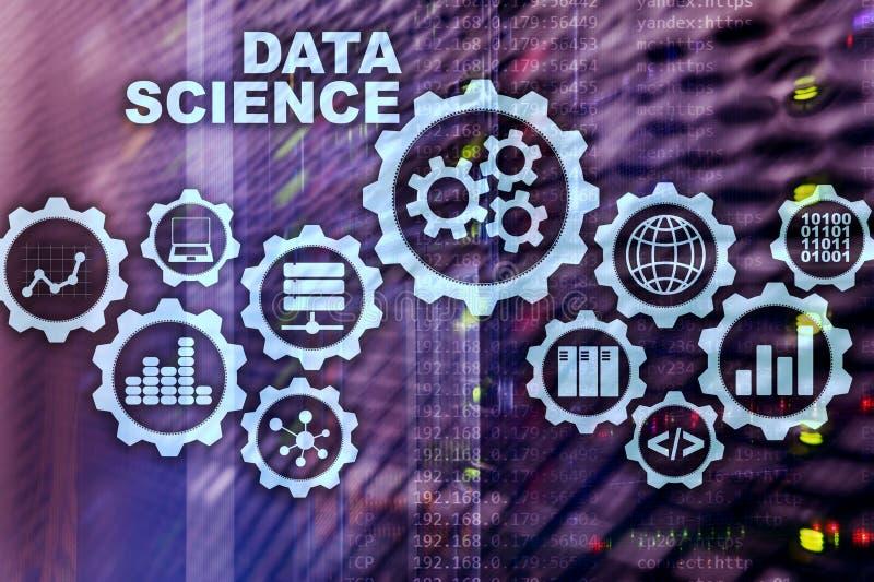 Concetto di intelligenza artificiale di scienza di dati Fondo futuristico del supercomputer fotografia stock
