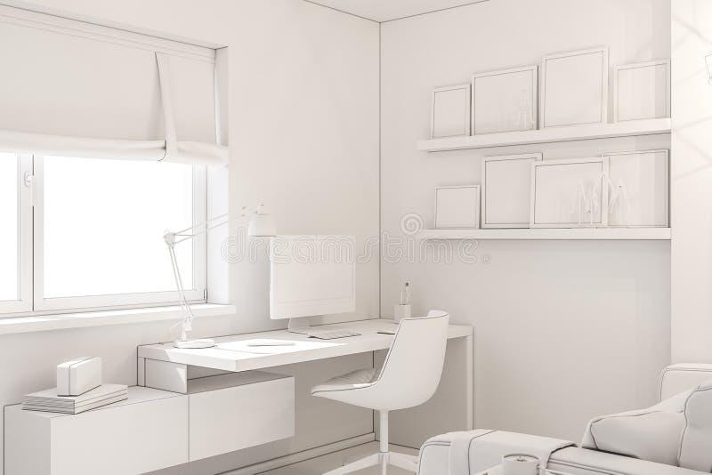 Concetto di interior design del Ministero degli Interni in un cottage privato illustrazione 3d dell'interno nel colore bianco royalty illustrazione gratis