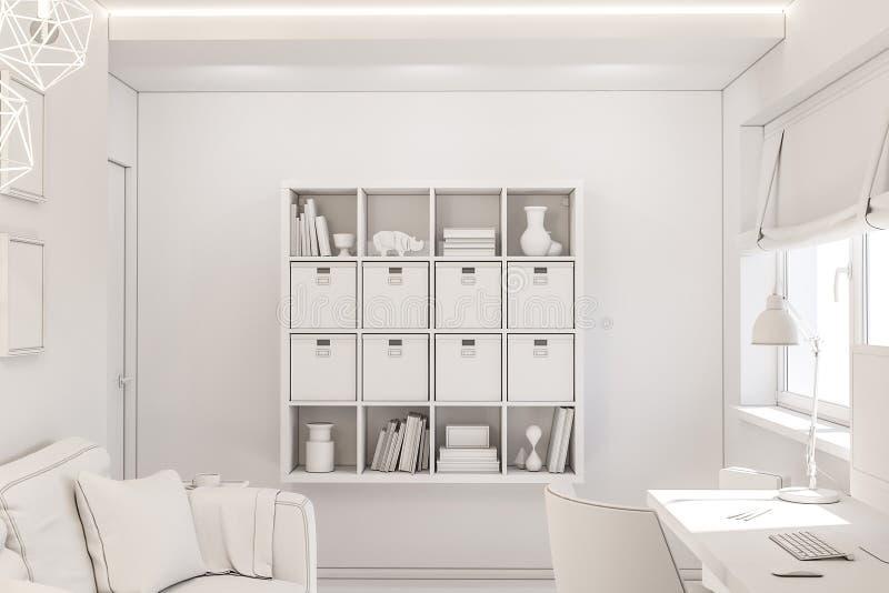 Concetto di interior design del Ministero degli Interni in un cottage privato illustrazione 3d dell'interno nel colore bianco illustrazione vettoriale